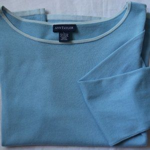 Ann Taylor Blue Cotton Sweater 3/4 Sleeve Top L